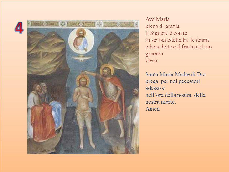 Ave Maria Piena di grazia Il Signore è con te Tu sei benedetta fra le donne E benedetto è il frutto del tuo grembo Gesù.
