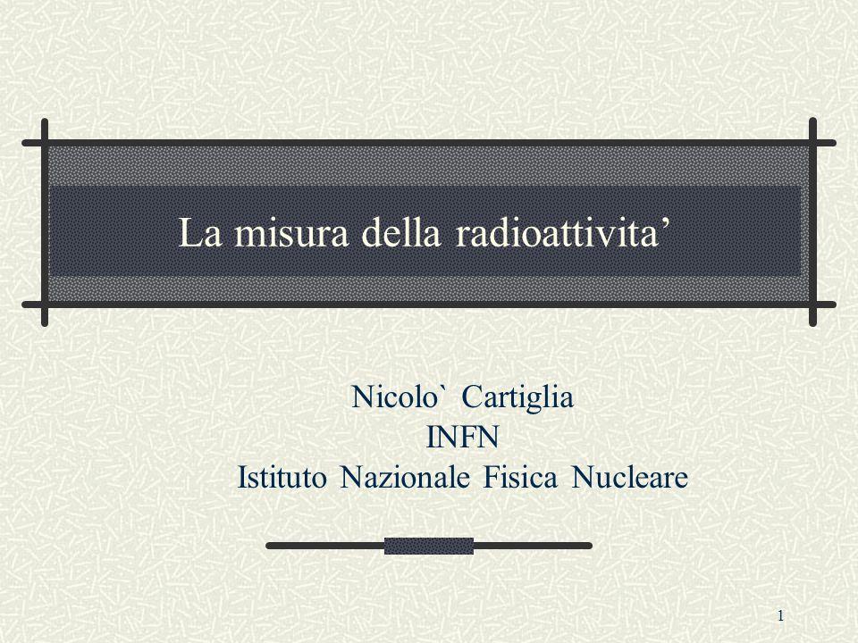 1 La misura della radioattivita' Nicolo` Cartiglia INFN Istituto Nazionale Fisica Nucleare