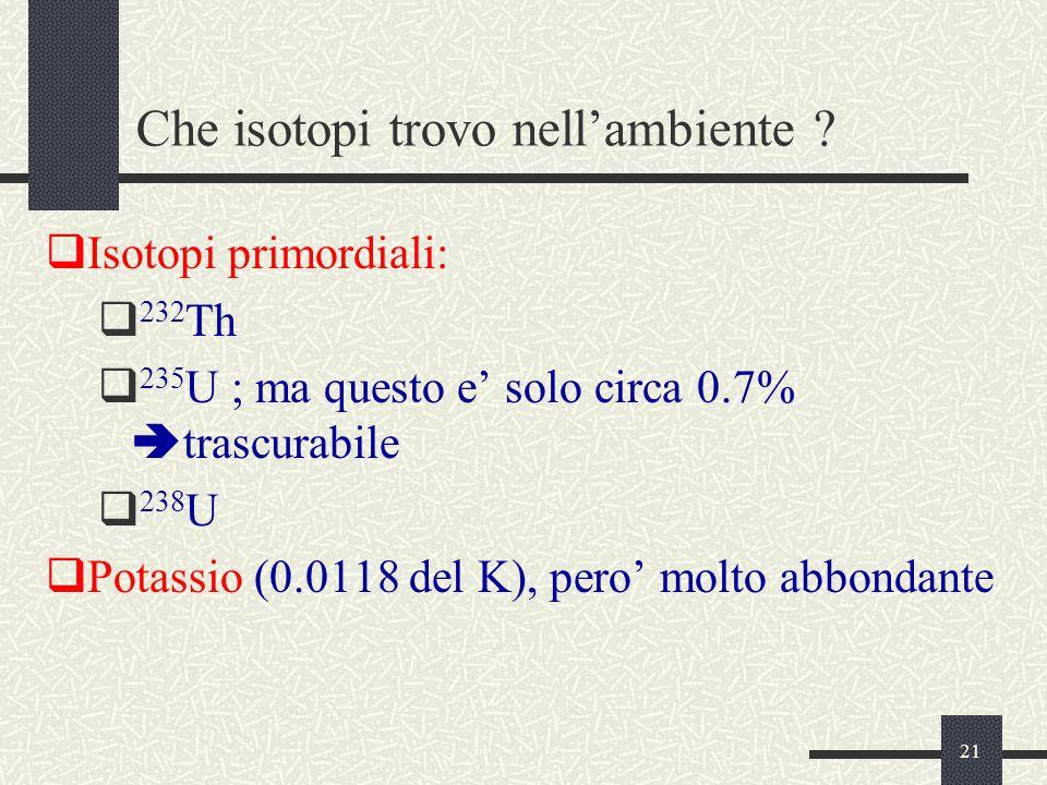 21 Che isotopi trovo nell'ambiente ?  Isotopi primordiali:  232 Th  235 U ; ma questo e' solo circa 0.7%  trascurabile  238 U  Potassio (0.0118