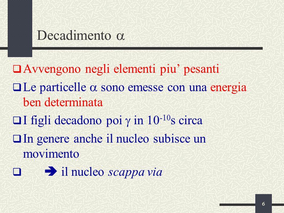 17 Equilibrio secolare (figura) Dopo 6.6  il rate di B e' il 99.9% del suo rateo di disintegrazione finale