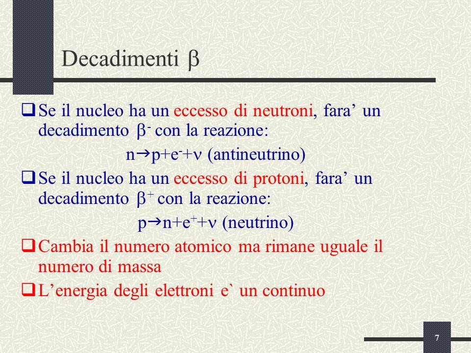 7 Decadimenti   Se il nucleo ha un eccesso di neutroni, fara' un decadimento  - con la reazione: n  p+e - +  (antineutrino)  Se il nucleo ha un eccesso di protoni, fara' un decadimento  + con la reazione: p  n+e + + (neutrino)  Cambia il numero atomico ma rimane uguale il numero di massa  L'energia degli elettroni e` un continuo