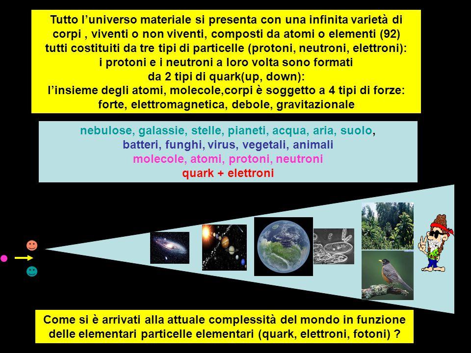 Tutto l'universo materiale si presenta con una infinita varietà di corpi, viventi o non viventi, composti da atomi o elementi (92) tutti costituiti da