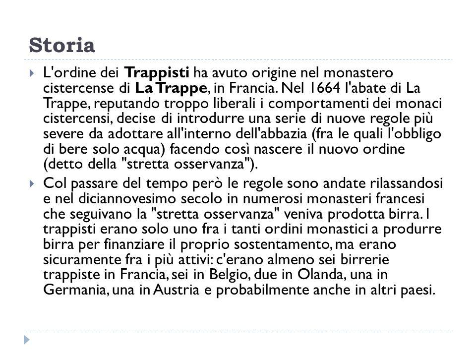 Storia  L'ordine dei Trappisti ha avuto origine nel monastero cistercense di La Trappe, in Francia. Nel 1664 l'abate di La Trappe, reputando troppo l