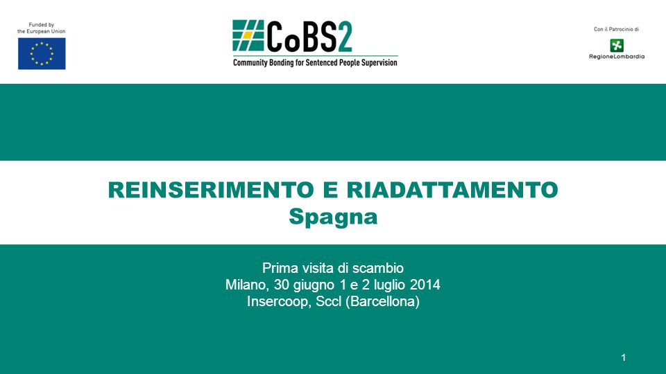 REINSERIMENTO E RIADATTAMENTO Spagna Prima visita di scambio Milano, 30 giugno 1 e 2 luglio 2014 Insercoop, Sccl (Barcellona) 1