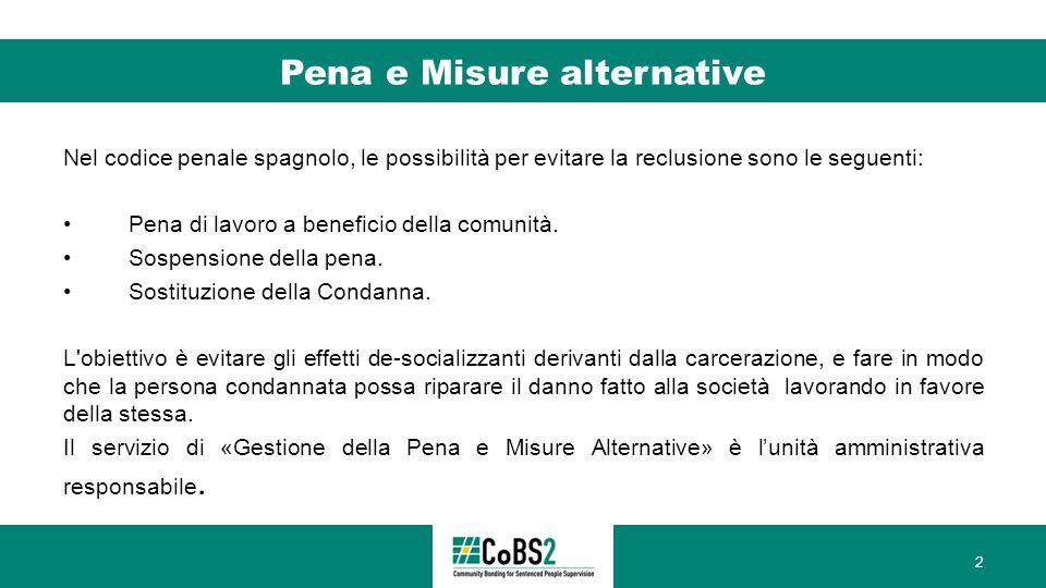 Pena e Misure alternative Nel codice penale spagnolo, le possibilità per evitare la reclusione sono le seguenti: Pena di lavoro a beneficio della comunità.