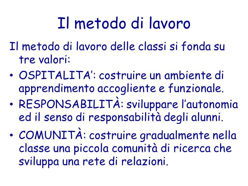 Il metodo di lavoro Il metodo di lavoro delle classi si fonda su tre valori: OSPITALITA': costruire un ambiente di apprendimento accogliente e funzion