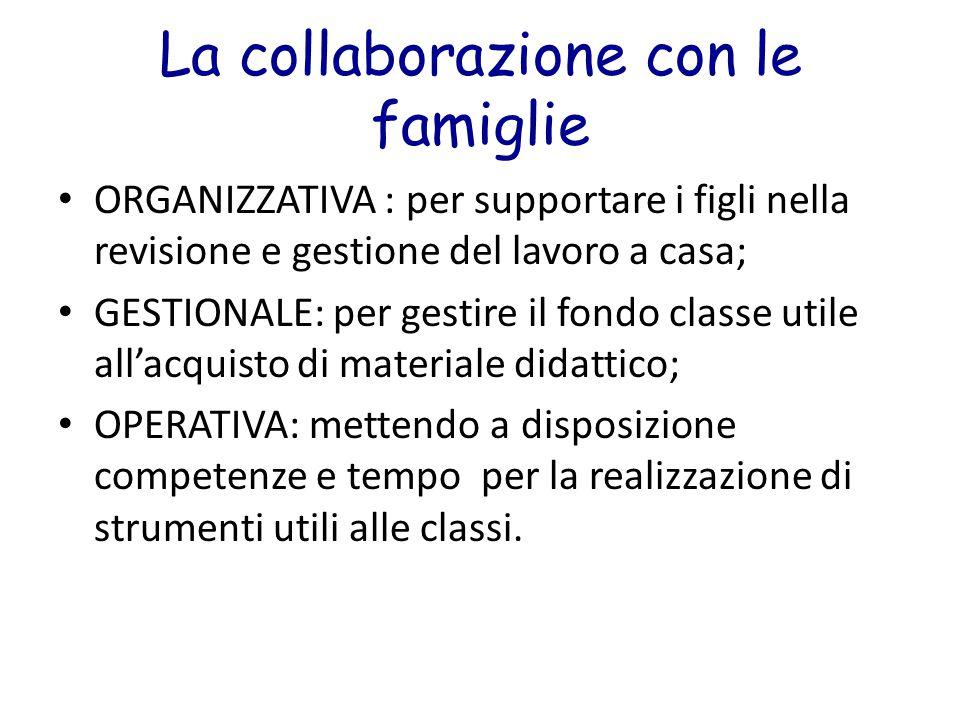 La collaborazione con le famiglie ORGANIZZATIVA : per supportare i figli nella revisione e gestione del lavoro a casa; GESTIONALE: per gestire il fond
