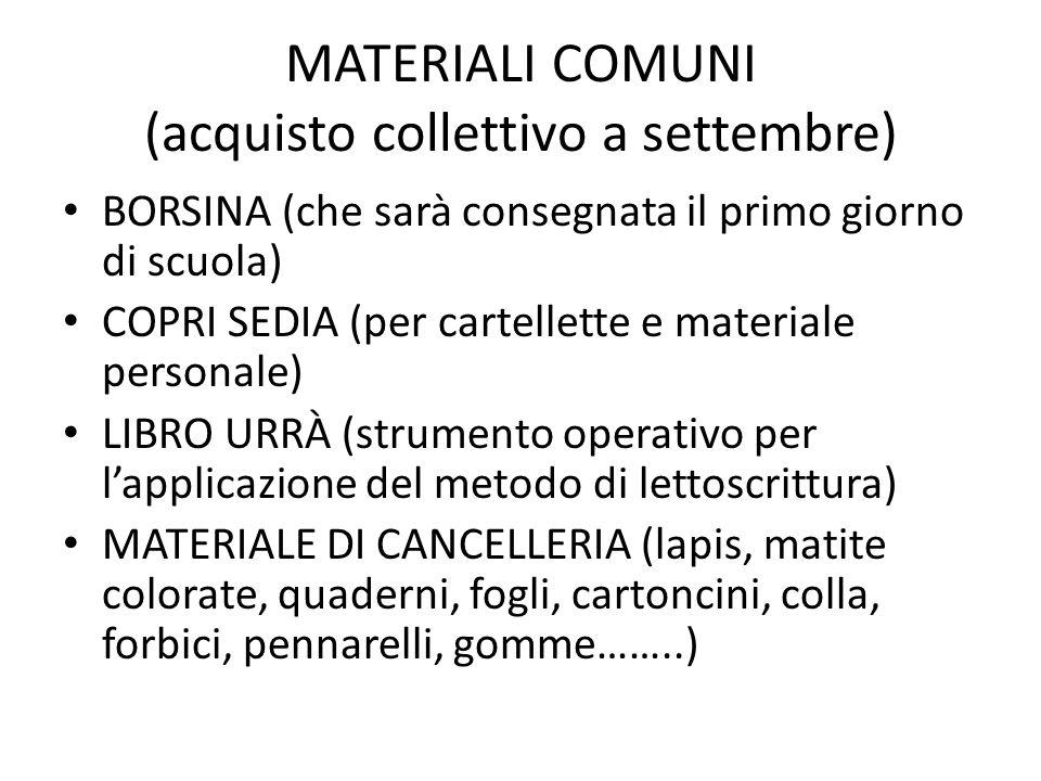 MATERIALI COMUNI (acquisto collettivo a settembre) BORSINA (che sarà consegnata il primo giorno di scuola) COPRI SEDIA (per cartellette e materiale pe