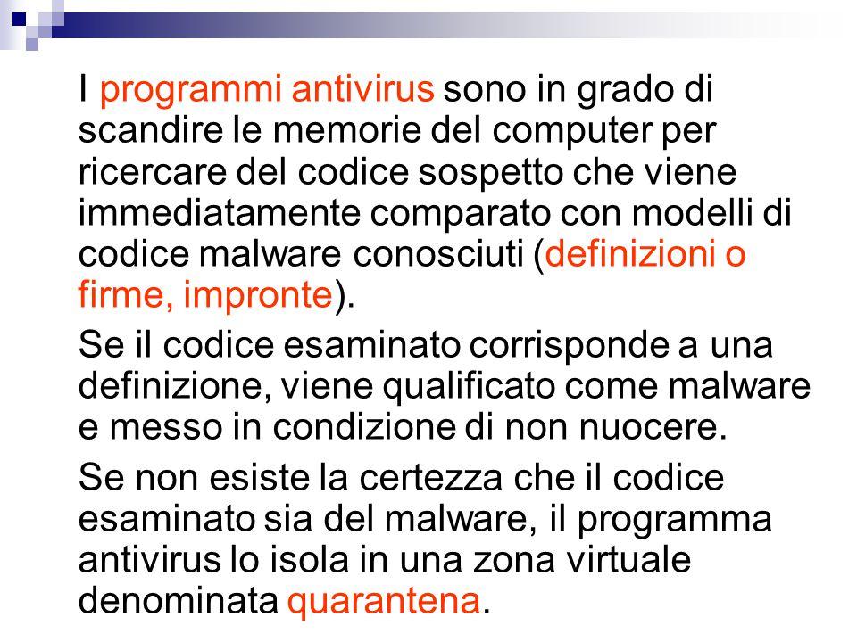 I programmi antivirus sono in grado di scandire le memorie del computer per ricercare del codice sospetto che viene immediatamente comparato con model