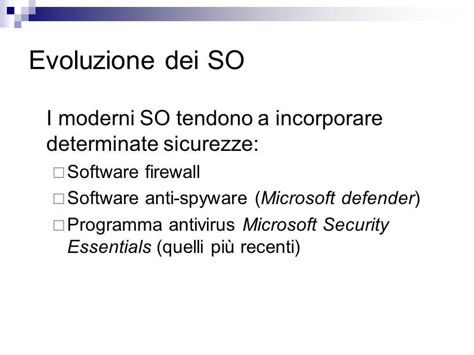 Evoluzione dei SO I moderni SO tendono a incorporare determinate sicurezze:  Software firewall  Software anti-spyware (Microsoft defender)  Program