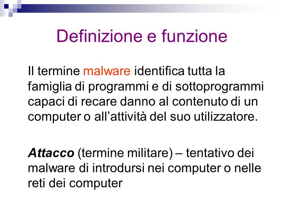 Definizione e funzione Il termine malware identifica tutta la famiglia di programmi e di sottoprogrammi capaci di recare danno al contenuto di un comp