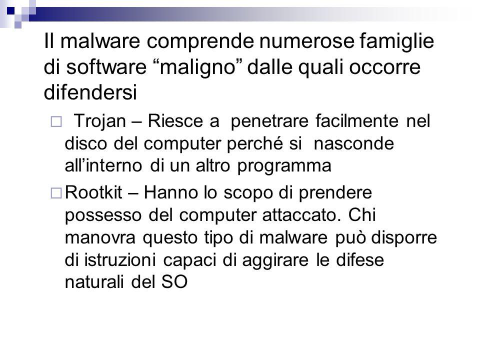 """Il malware comprende numerose famiglie di software """"maligno"""" dalle quali occorre difendersi  Trojan – Riesce a penetrare facilmente nel disco del com"""
