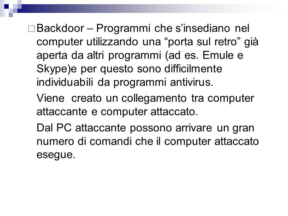 """ Backdoor – Programmi che s'insediano nel computer utilizzando una """"porta sul retro"""" già aperta da altri programmi (ad es. Emule e Skype)e per questo"""