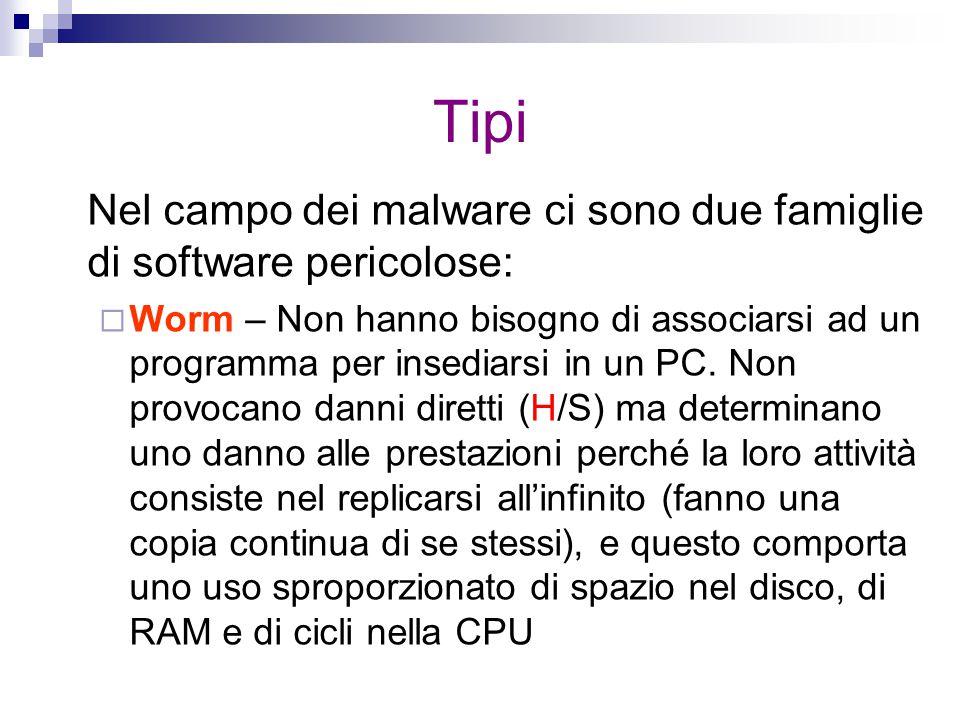 Tipi Nel campo dei malware ci sono due famiglie di software pericolose:  Worm – Non hanno bisogno di associarsi ad un programma per insediarsi in un