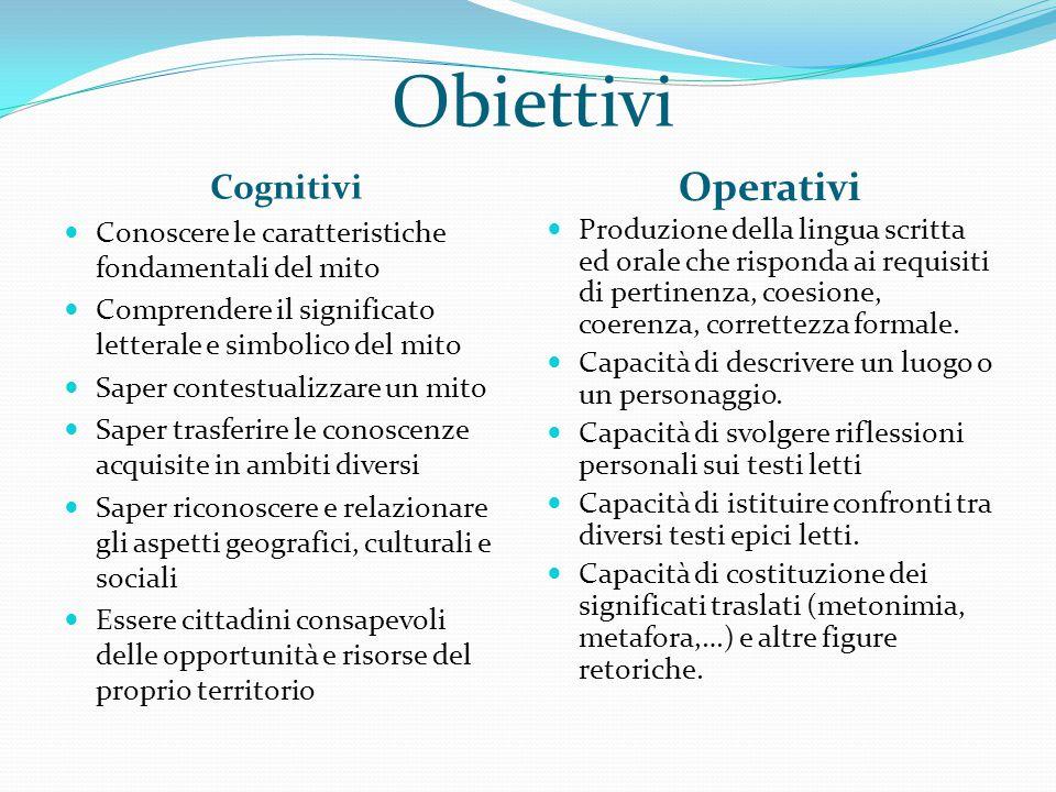 Obiettivi Cognitivi Operativi Conoscere le caratteristiche fondamentali del mito Comprendere il significato letterale e simbolico del mito Saper conte