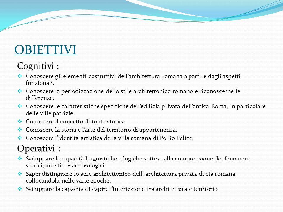 OBIETTIVI Cognitivi :  Conoscere gli elementi costruttivi dell'architettura romana a partire dagli aspetti funzionali.  Conoscere la periodizzazione
