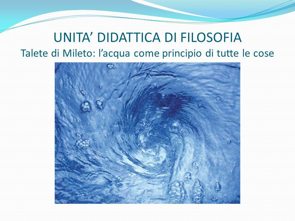 UNITA' DIDATTICA DI FILOSOFIA Talete di Mileto: l'acqua come principio di tutte le cose