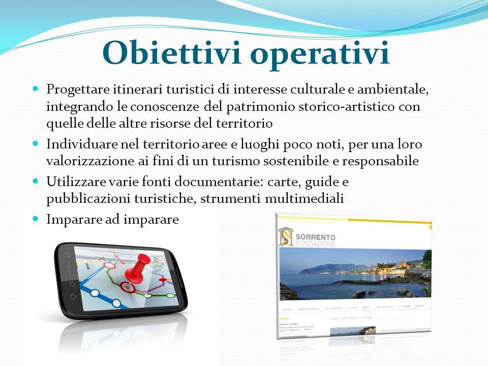 Obiettivi operativi Progettare itinerari turistici di interesse culturale e ambientale, integrando le conoscenze del patrimonio storico-artistico con