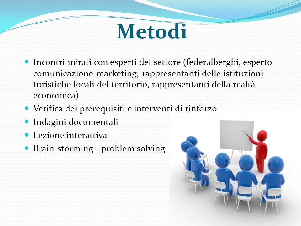 Metodi Incontri mirati con esperti del settore (federalberghi, esperto comunicazione-marketing, rappresentanti delle istituzioni turistiche locali del