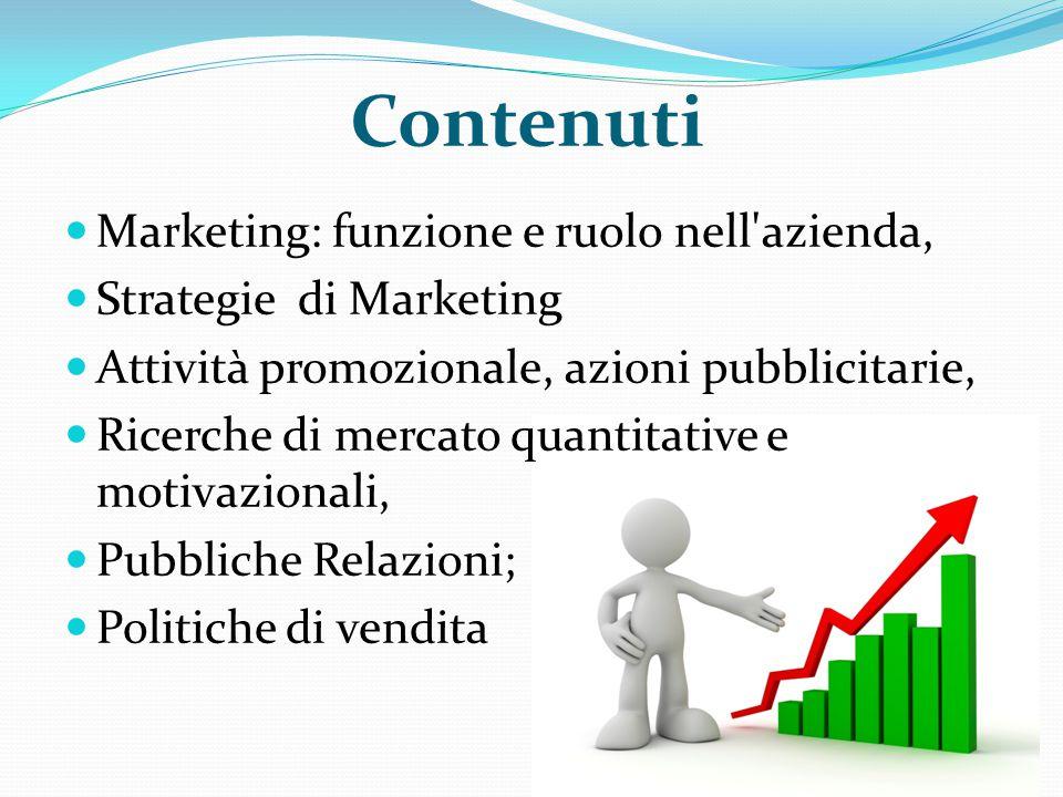 Contenuti Marketing: funzione e ruolo nell'azienda, Strategie di Marketing Attività promozionale, azioni pubblicitarie, Ricerche di mercato quantitati