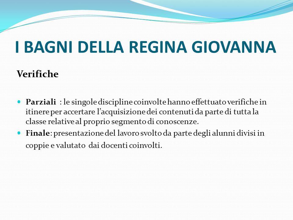 Compito prodotto Allestimento mostra finale Cd – opuscolo Pagina web Relazione individuale I BAGNI DELLA REGINA GIOVANNA