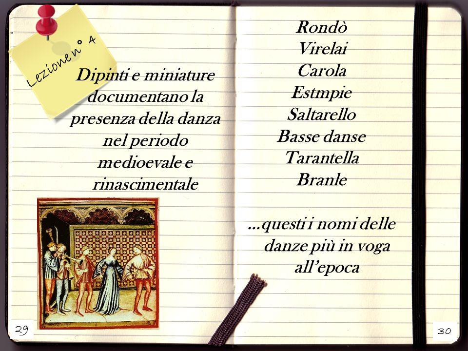 29 30 Lezione n° 4 Dipinti e miniature documentano la presenza della danza nel periodo medioevale e rinascimentale Rondò Virelai Carola Estmpie Saltar