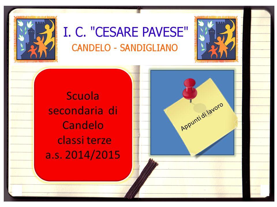 Scuola secondaria di Candelo classi terze a.s. 2014/2015 Appunti di lavoro