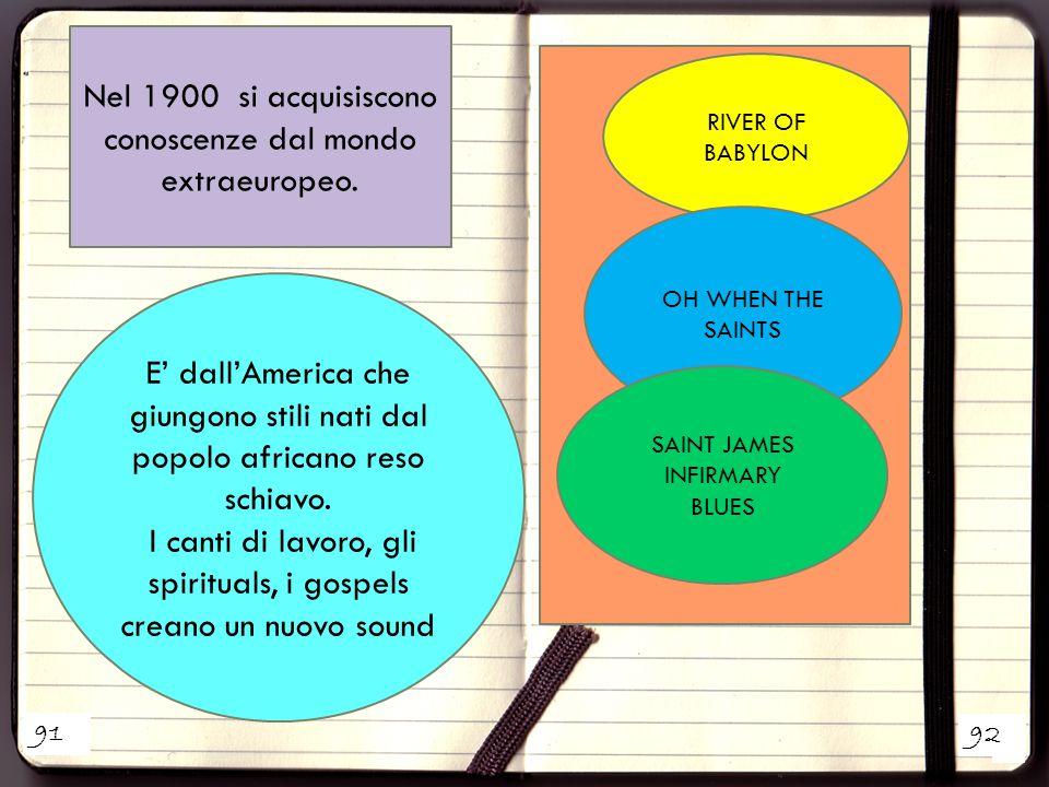 2 Nel 1900 si acquisiscono conoscenze dal mondo extraeuropeo. 1 E' dall'America che giungono stili nati dal popolo africano reso schiavo. I canti di l
