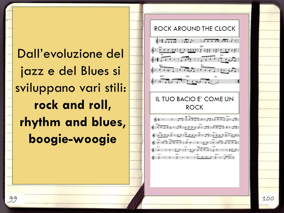 1 2 Dall'evoluzione del jazz e del Blues si sviluppano vari stili: rock and roll, rhythm and blues, boogie-woogie ROCK AROUND THE CLOCK IL TUO BACIO E