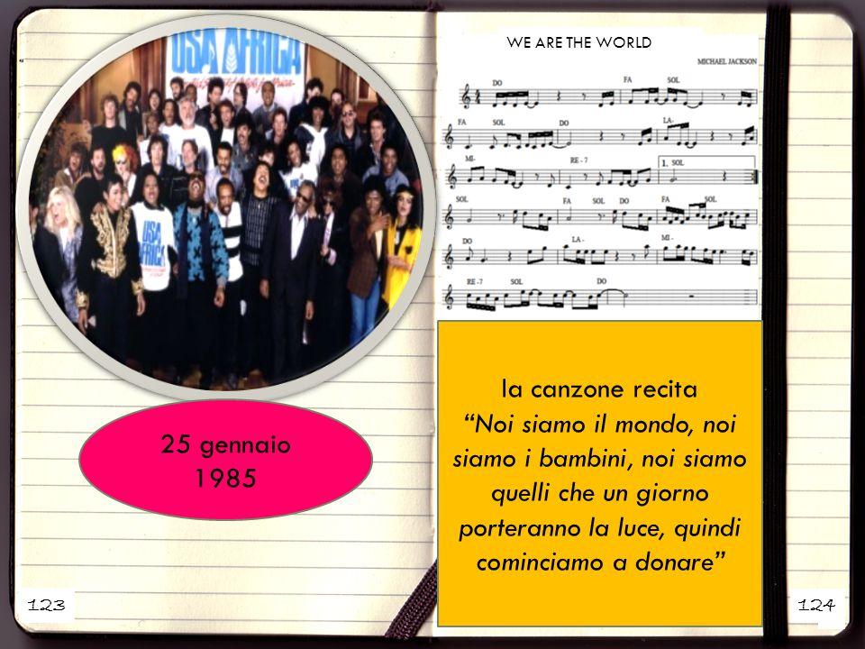 1 2 la canzone recita Noi siamo il mondo, noi siamo i bambini, noi siamo quelli che un giorno porteranno la luce, quindi cominciamo a donare 25 gennaio 1985 123 124 WE ARE THE WORLD