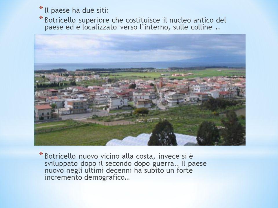 * Il paese ha due siti: * Botricello superiore che costituisce il nucleo antico del paese ed è localizzato verso l'interno, sulle colline.. * Botricel
