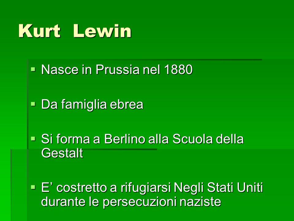 Kurt Lewin  Nasce in Prussia nel 1880  Da famiglia ebrea  Si forma a Berlino alla Scuola della Gestalt  E' costretto a rifugiarsi Negli Stati Unit