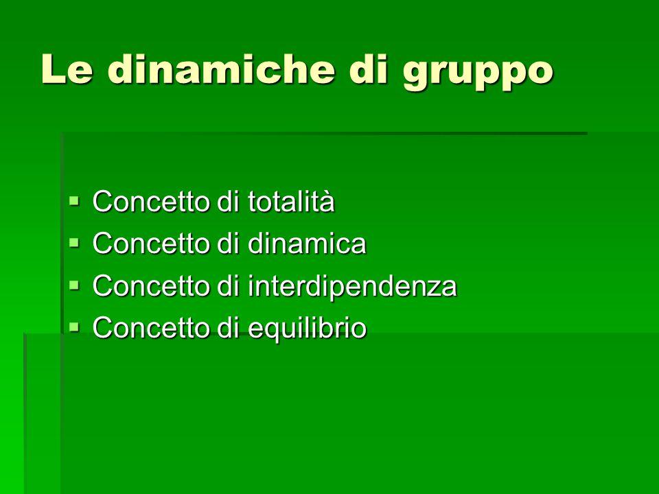 Le dinamiche di gruppo  Concetto di totalità  Concetto di dinamica  Concetto di interdipendenza  Concetto di equilibrio