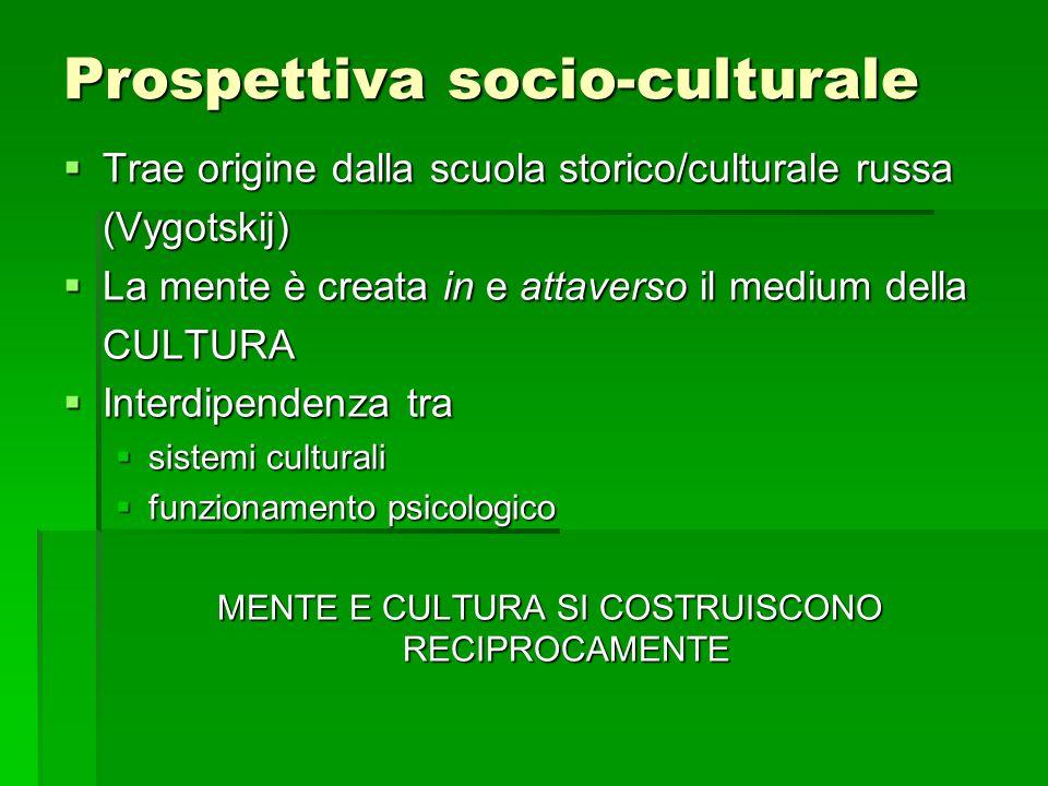 Prospettiva socio-culturale  Trae origine dalla scuola storico/culturale russa (Vygotskij)  La mente è creata in e attaverso il medium della CULTURA