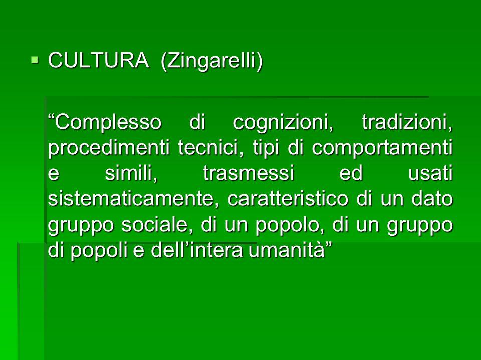 """ CULTURA (Zingarelli) """"Complesso di cognizioni, tradizioni, procedimenti tecnici, tipi di comportamenti e simili, trasmessi ed usati sistematicamente"""