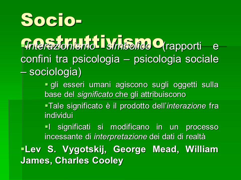 Socio- costruttivismo  Interazionismo simbolico (rapporti e confini tra psicologia – psicologia sociale – sociologia)  gli esseri umani agiscono sug