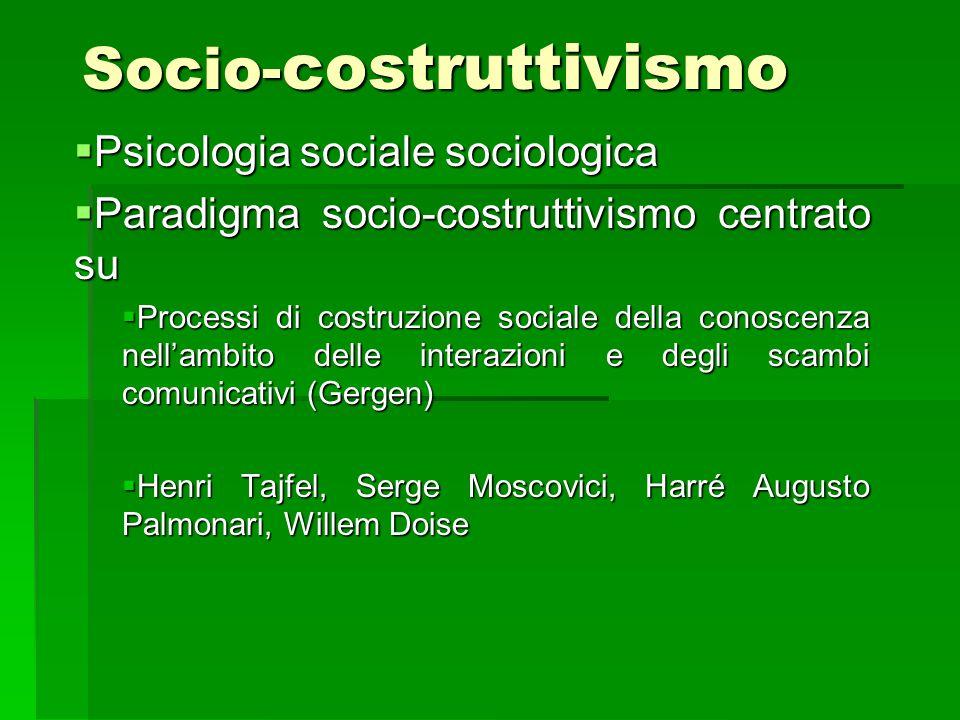 Socio- costruttivismo  Psicologia sociale sociologica  Paradigma socio-costruttivismo centrato su  Processi di costruzione sociale della conoscenza