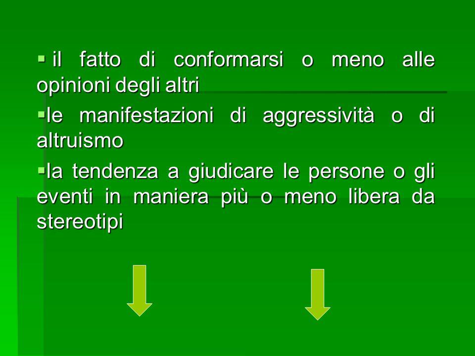  il fatto di conformarsi o meno alle opinioni degli altri  le manifestazioni di aggressività o di altruismo  la tendenza a giudicare le persone o g