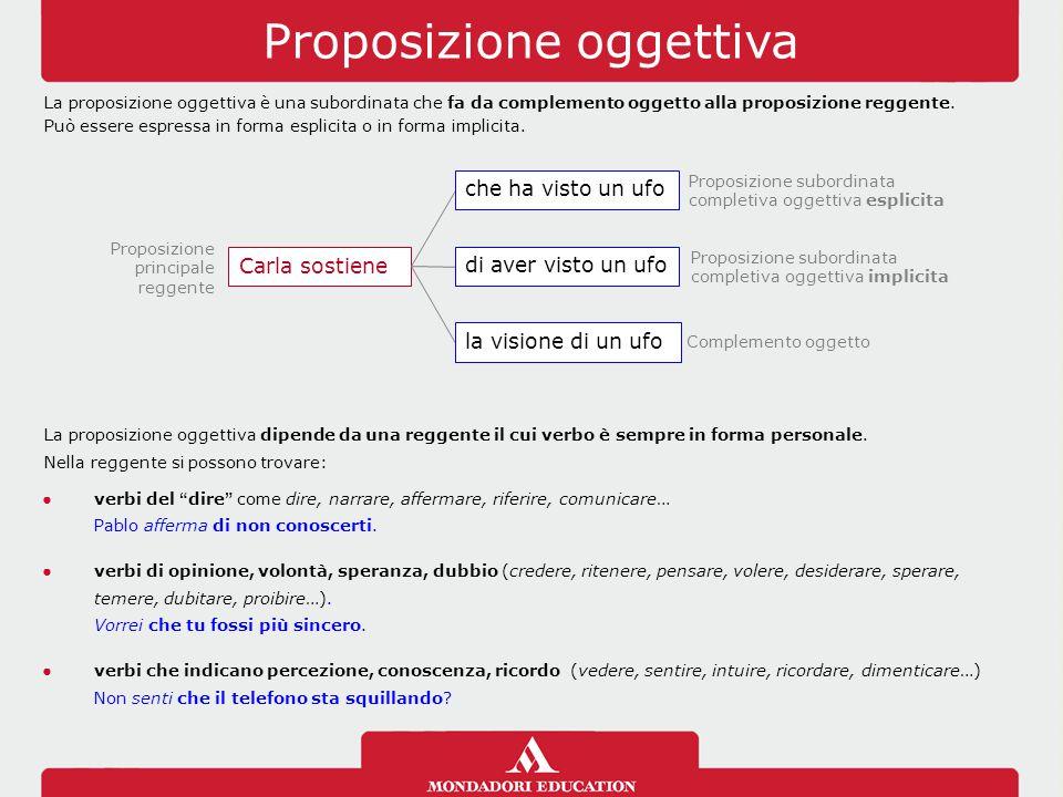 Proposizione oggettiva La proposizione oggettiva è una subordinata che fa da complemento oggetto alla proposizione reggente. Può essere espressa in fo