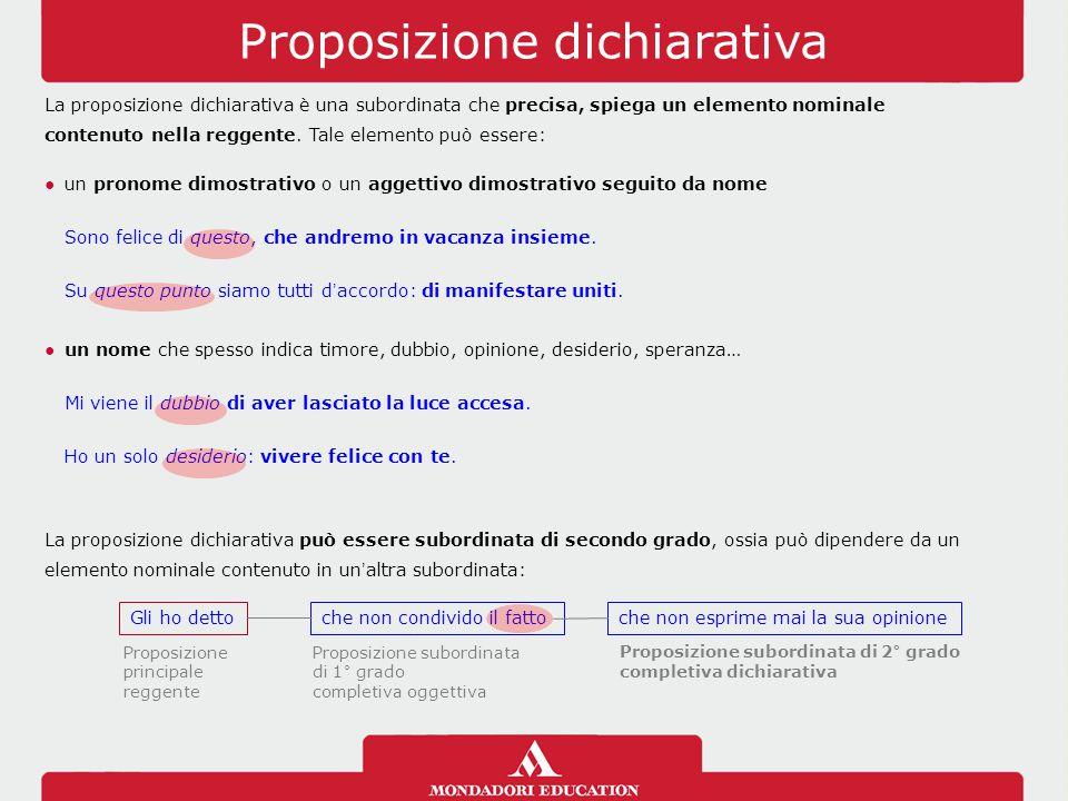 Proposizione dichiarativa La proposizione dichiarativa è una subordinata che precisa, spiega un elemento nominale contenuto nella reggente. Tale eleme
