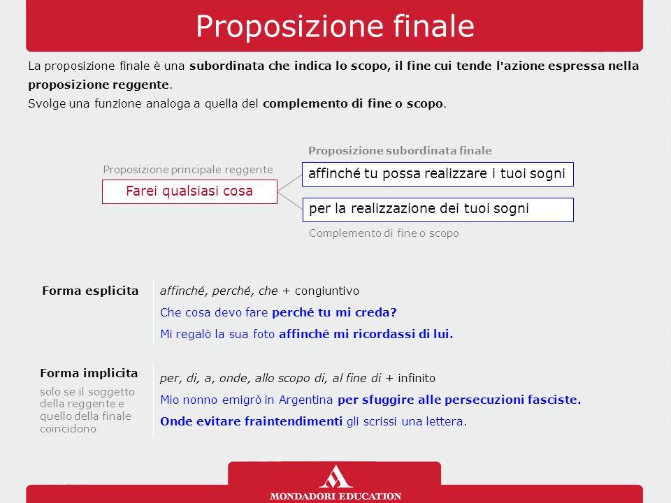 Proposizione finale La proposizione finale è una subordinata che indica lo scopo, il fine cui tende l'azione espressa nella proposizione reggente. Svo