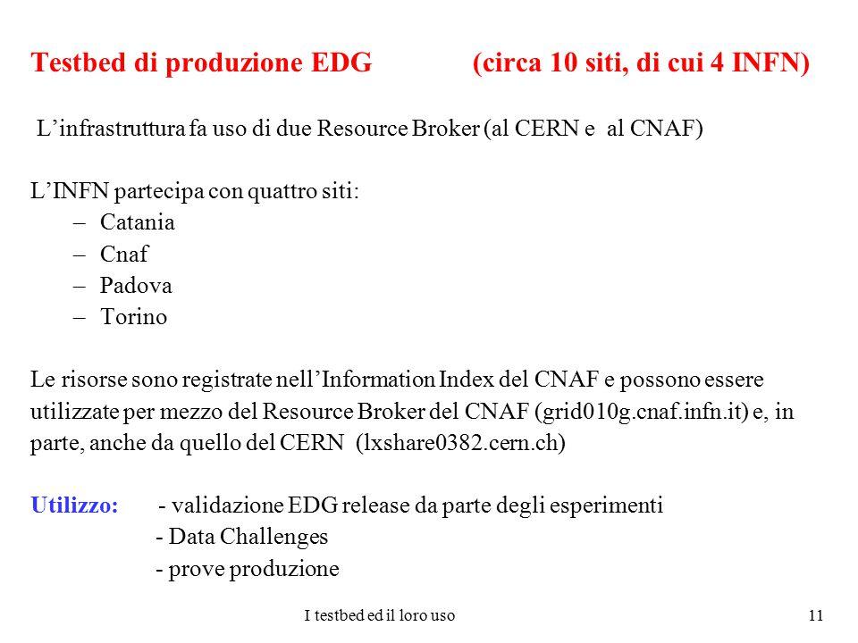I testbed ed il loro uso 11 Testbed di produzione EDG (circa 10 siti, di cui 4 INFN) L'infrastruttura fa uso di due Resource Broker (al CERN e al CNAF