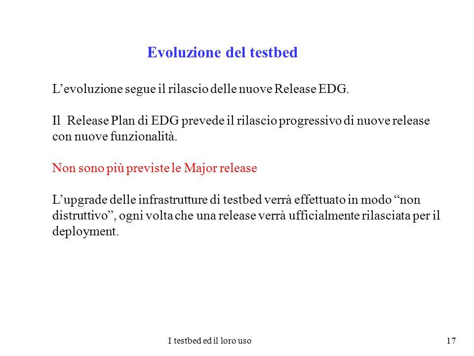 I testbed ed il loro uso 17 Evoluzione del testbed L'evoluzione segue il rilascio delle nuove Release EDG. Il Release Plan di EDG prevede il rilascio