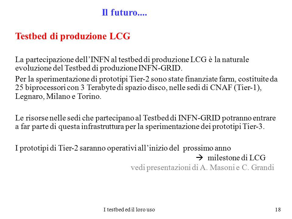 I testbed ed il loro uso 18 Il futuro.... Testbed di produzione LCG La partecipazione dell'INFN al testbed di produzione LCG è la naturale evoluzione