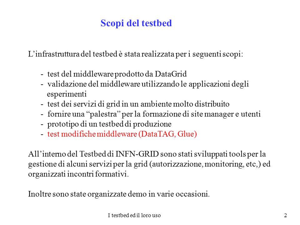 I testbed ed il loro uso 2 Scopi del testbed L'infrastruttura del testbed è stata realizzata per i seguenti scopi: - test del middleware prodotto da D