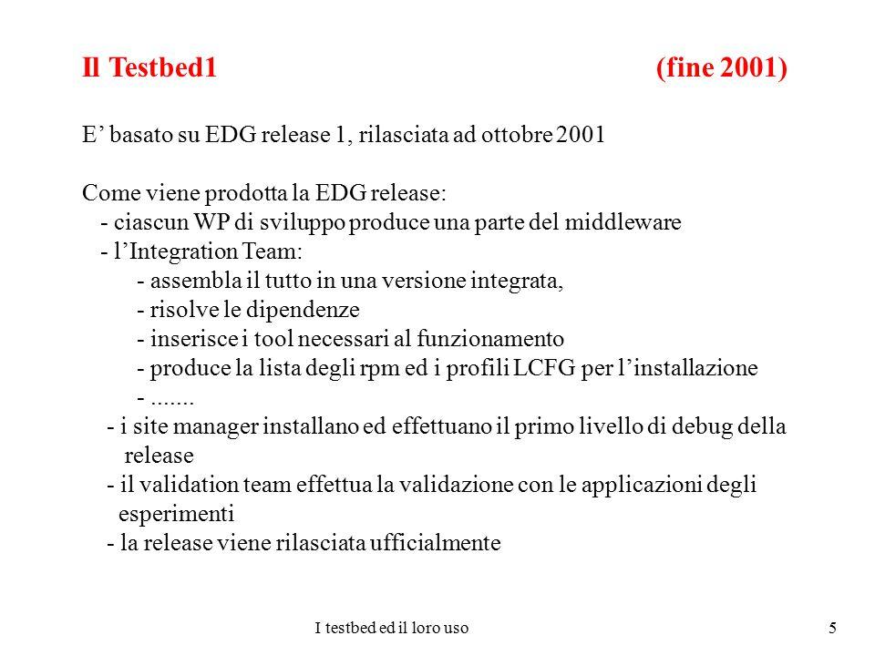 I testbed ed il loro uso 6 L'infrastruttura del Testbed1 (fine 2001) L'INFN ha partecipato con 4 siti: CT, CNAF, PD e TO Altri siti EDG: CERN, Lyon, RAL, NIKHEF Validazione della Release1 e del Testbed1: - Deliverable 8.2 - Deliverable 6.4 Contributo INFN: - sistema di autorizzazione (aggiornamento automatica gridmapfile) - contributo all'Integration Team - definizione dei profili degli elementi che compongono la grid - debug di LCFG dei site manager italiani