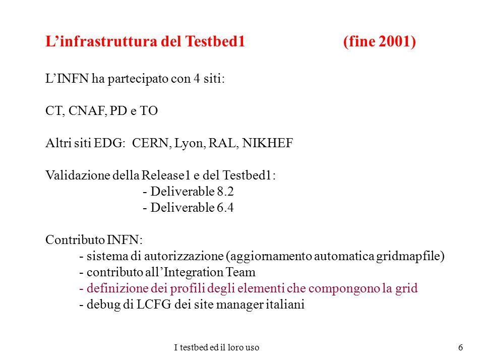 I testbed ed il loro uso 6 L'infrastruttura del Testbed1 (fine 2001) L'INFN ha partecipato con 4 siti: CT, CNAF, PD e TO Altri siti EDG: CERN, Lyon, R