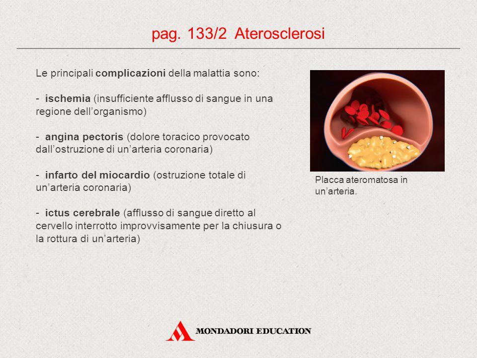 Le principali complicazioni della malattia sono: - ischemia (insufficiente afflusso di sangue in una regione dell'organismo) - angina pectoris (dolore toracico provocato dall'ostruzione di un'arteria coronaria) - infarto del miocardio (ostruzione totale di un'arteria coronaria) - ictus cerebrale (afflusso di sangue diretto al cervello interrotto improvvisamente per la chiusura o la rottura di un'arteria) pag.