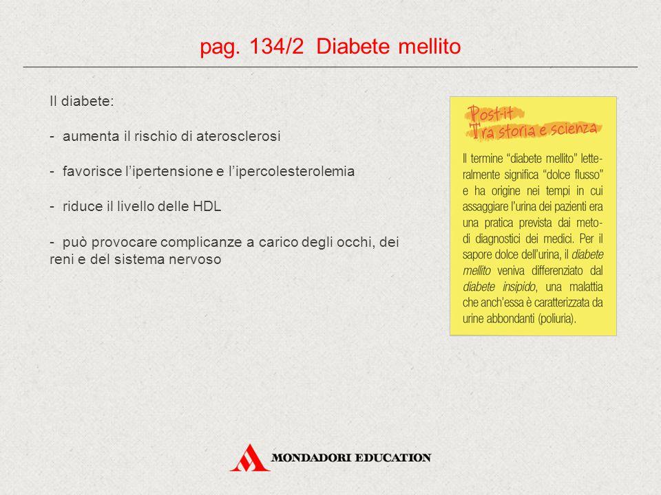 Il diabete: - aumenta il rischio di aterosclerosi - favorisce l'ipertensione e l'ipercolesterolemia - riduce il livello delle HDL - può provocare complicanze a carico degli occhi, dei reni e del sistema nervoso pag.