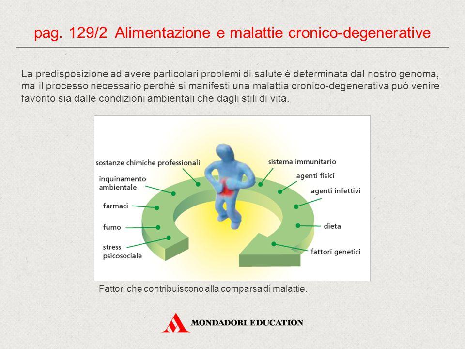pag. 129/2 Alimentazione e malattie cronico-degenerative La predisposizione ad avere particolari problemi di salute è determinata dal nostro genoma, m